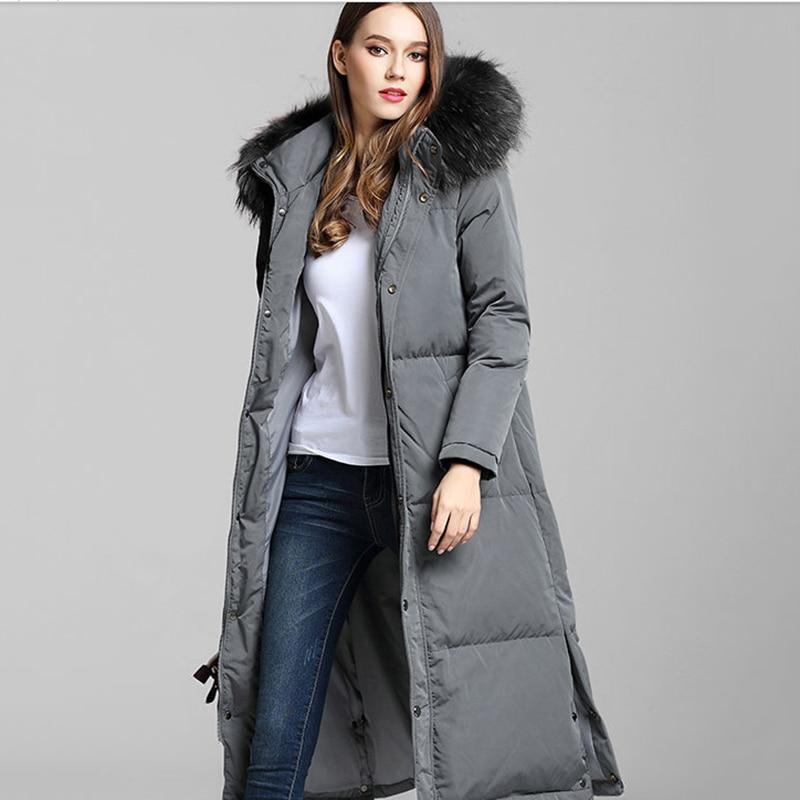 478d48b875a Hijklnl camperas mujer abrigo pluma mujeres invierno grueso largo Abrigos  de plumas chaqueta 2017 capucha real Fox Pieles de animales pato Abrigos de  plumas ...