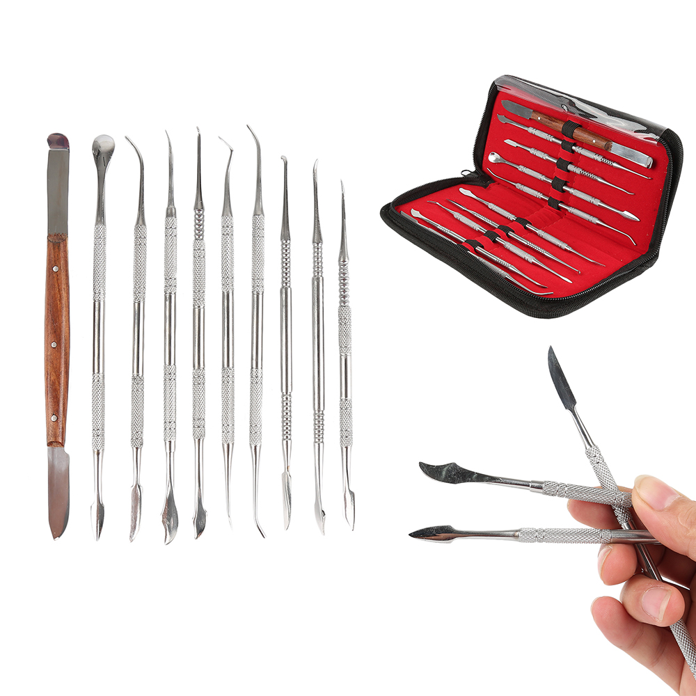 10pcs/set Dental Lab Stainless Steel Kit High Quality Dental Instrument Wax Carving Tool Set Teeth Whitening Product Dental Tool