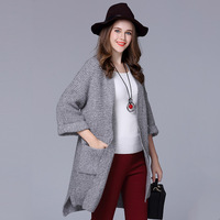 Large size cardigan frauen kleidung fabrik großhandel 2016 Europa stil winter wolle stricken ärmel frauen pullover mantel