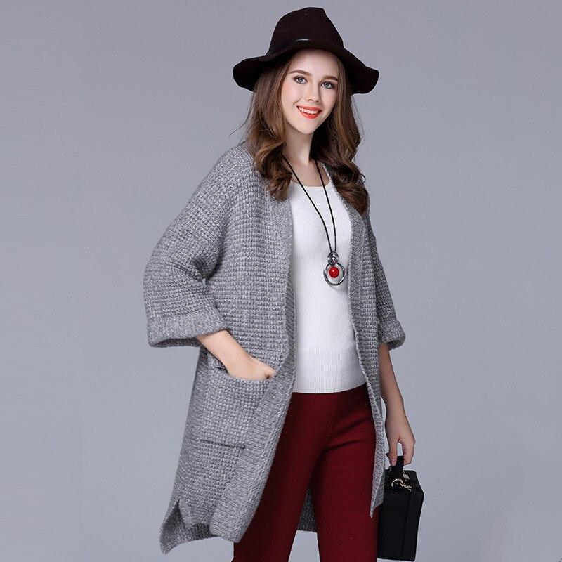 8cb094ca4699a Vêtements de grande taille cardigan femmes usine en gros 2016 L europe  style d hiver de laine manches en tricot femmes chandail manteau