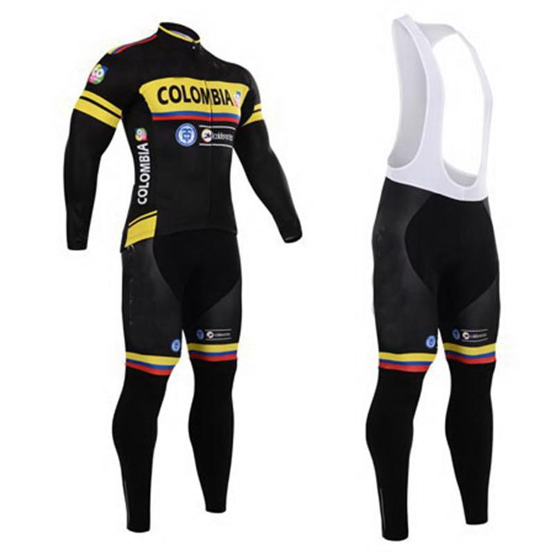Prix pour Colombie équipe Manches longues vélo porter D'été À Séchage Rapide ropa vélo Jersey Vélo Vêtements de Montagne shorts ensemble avec gel pa