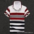 Мужчин Рубашки Поло 2016 Бизнес Мужчины С Коротким Рукавом Рубашки Поло Темно-Бордовый Полосатый Хлопок Поло Homme D1649