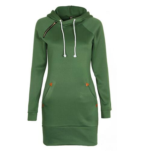 Warm Winter High Quality Hooded Dresses Pocket Long Sleeved Casual Mini Dress Sportwear Women Clothings LX130 20