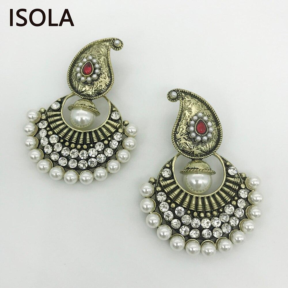 Isola Big Pearl Surround Chandelier Kashmiri Earrings