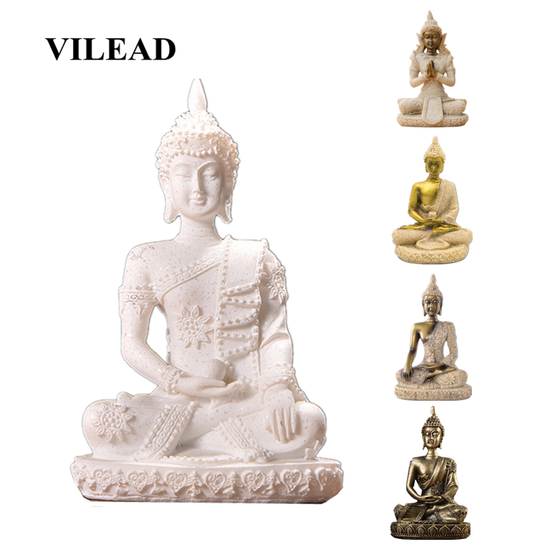 VILEAD 16 Style Nature Sandstone Buddha Statue Thailand Hindu Fengshui Figurine Sculpture Christmas Decorations For Home Stores