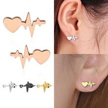 Fashion 1Pair Women High Quality Jewelry electrocardiogram Heart Ear Stud Alloy Girls Earrings fashion gifts