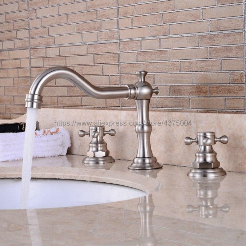 Кран для раковины на бортике, комплект из 3 предметов, ванная комната, матовый никель, две ручки, смеситель для раковины Nnf028