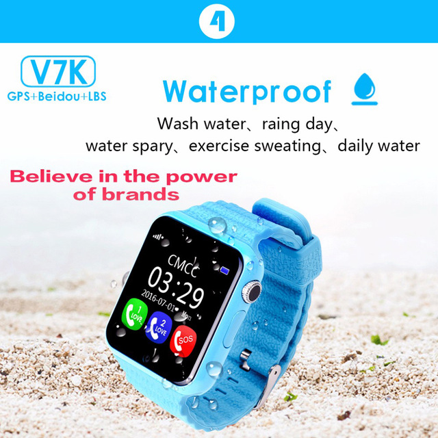 1pcs GPS tracking watch for kids waterproof smart watch V7K camera facebook SOS Call Location Devicer