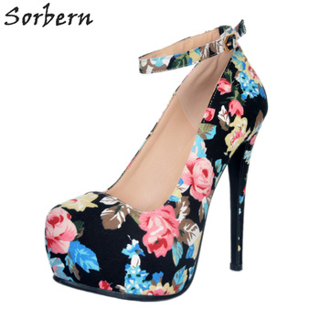 Sorbern Black Print Flower Women Pump Shoes Ankle Strap Womens Red Bottom Heel Pumps Summer Shoes Women 2018 New Arrival
