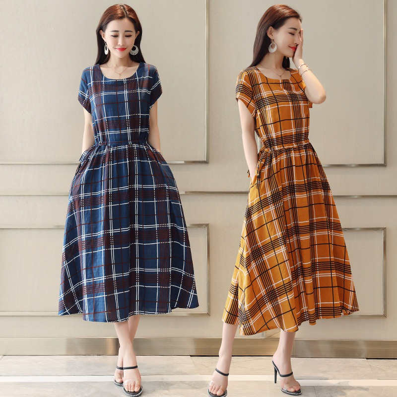 Vintage A Line Plaid Short Sleeveless Women Dress Summer Mid Calf O Neck Woman 39 s The Dresses L2 in Dresses from Women 39 s Clothing