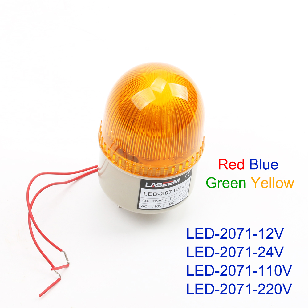DC 12V 24V AC 110V 220V LED-2071 Red Yellow Green Blue Warning Light Lamp Siren Industrial Warning Without Buzzer