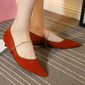 Spring Fashion Sexy Ladies Flock Mary Janes Flats Pointed Toe Metal Upper Women Flat Driving Shoes In Red Black Green