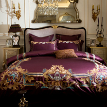 Luxury European Gold Royal Embroidery 120S/1000TC Egyptian Cotton Wine Red Palace Bedding Set Duvet Cover Bed sheet Pillowcases