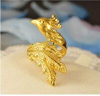 Удивительные Новое поступление 999 24 К желтого золота яркие Феникс кольцо Для женщин кольцо Размер США 8