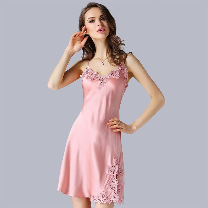 New 100 Real Silk Nightgown Women Lace Nightwear Backless Spaghetti Strap Sleepwear Summer Natural Silk Nightdress Home Clothes in Nightgowns Sleepshirts from Underwear Sleepwears
