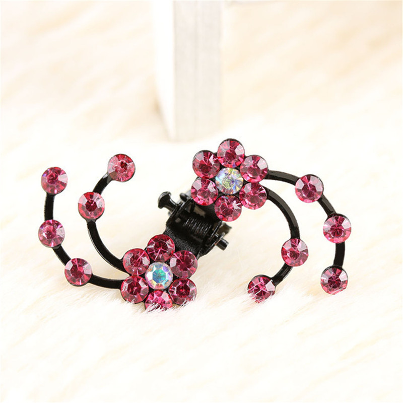 6 pcs/Pack Crystal Rhinestone Flower Hair Claws Mini Women Wedding Bridal  Girl Hairpins 5 colors Jewelry Hair Clip