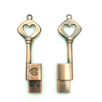 Hot Sale Heart Key USB Flash Drive 4GB 8GB 16GB 32GB 64GB Pendrive Memory Stick usb Stick Pen drive Waterproof metal key