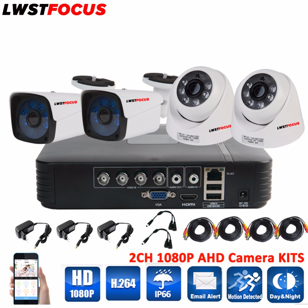 LWSTFOCUS 4CH 1080P HD Video Security System CCTV DVR 1080N 4PCS Weatherproof font b Outdoor b