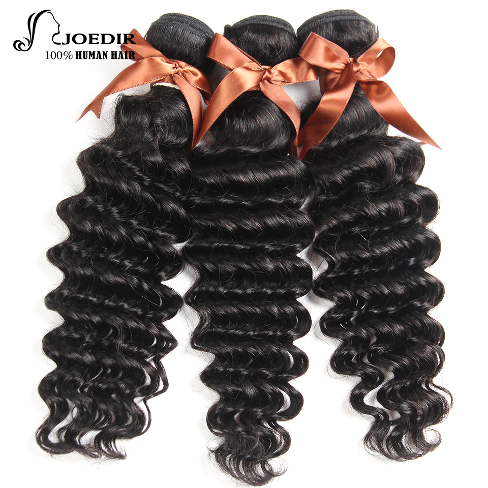Joedir Hair Products Natural Color Brazilian Hair Loose Deep More Wave Non-Remy Human Hair Weave 3 Bundles Deal Free Shipping