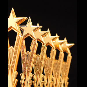 Image 5 - Free Custom Engraving  Shinning Black Crystal Base Golden Star Trophy Awards