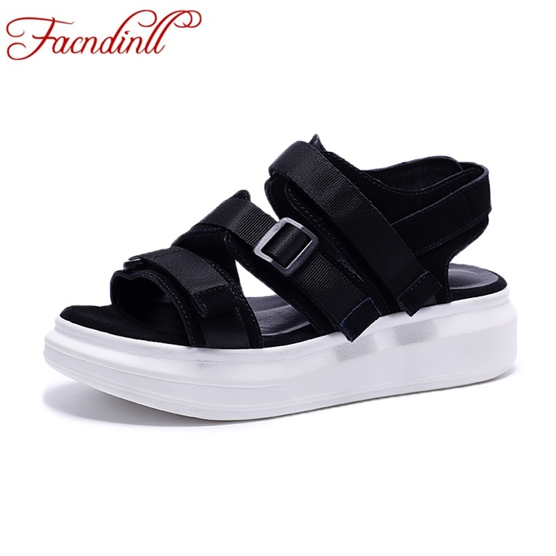high quality summer casual shoes women sandals suede leather flat heels platform sandals ladies sandals woman fashion sandalias