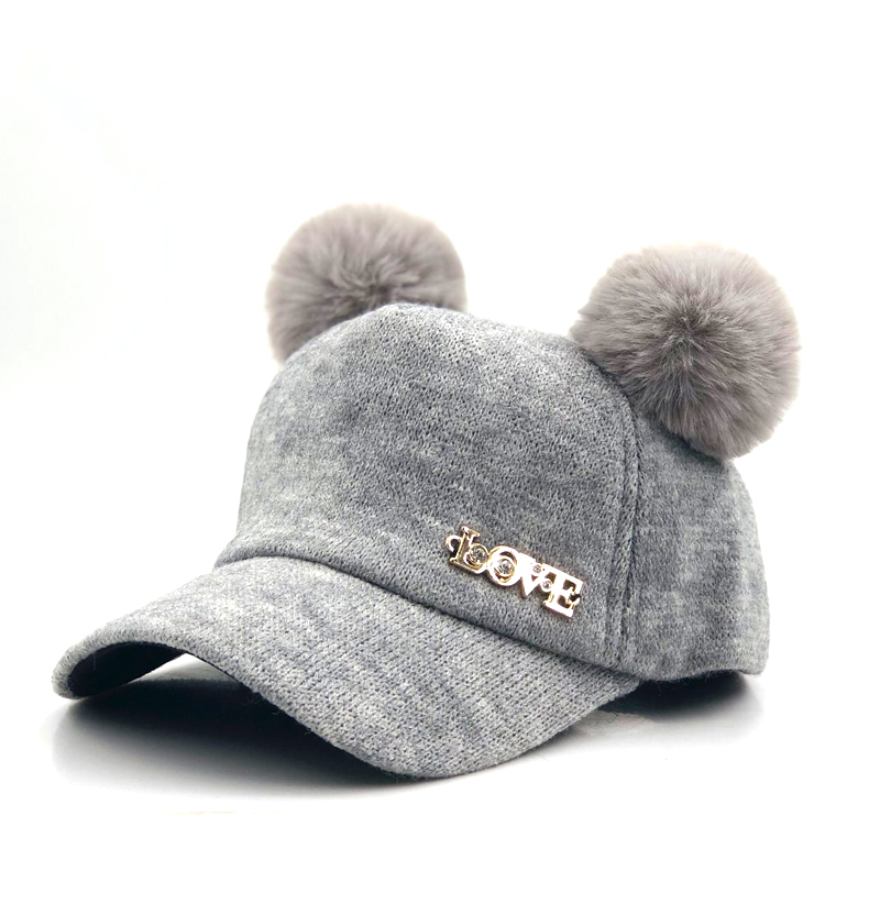 Cute Cap Baseball-Cap Snapback Winter Children Hat Casual Pompon Solid for Girls Boys