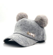 Baby wool Hat Pompon Winter Children Snapback Cute Cap For Girls Boys Casual Solid Color Baseball cap