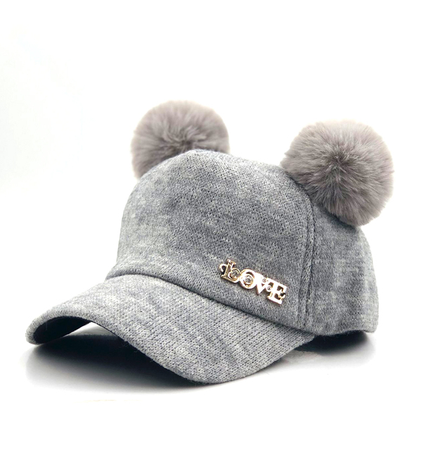 Baby wool Hat Pompon Winter Children Snapback Cute Cap For Girls Boys Casual Solid Color Girls Hat Baby Baseball cap