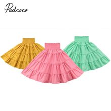 Pudcoco 2018 Toddler Kids Girls Maxi Skirts Summer Solid Pleated Elastic Waist Beach Holiday Skirt Summer Outfit Clothes 1-5Y(China)