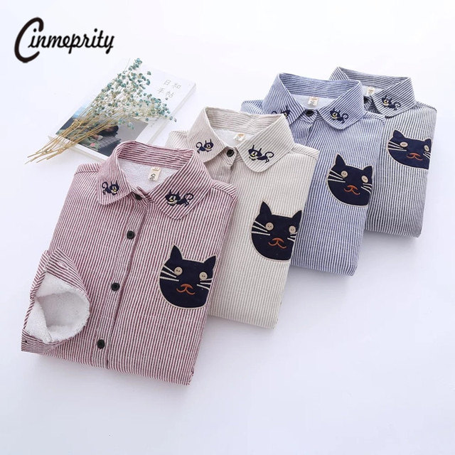 Cinmeprity Cat Embroidery Blouse Winter Women Plus Cashmere Shirt  Long Sleeve Thickening Warm Shirt  Thick Velvet Stripe Shirt