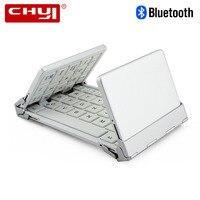 CHUYI Portable Pocket Folding Keyboard Aluminum Bluetooth Foldable Universal Wireless Travel Keypad For Iphone Ipad PC