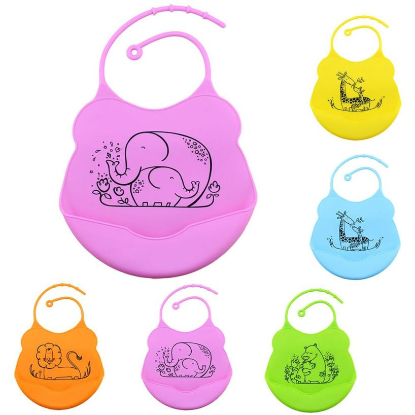 for 0-2T cute colorful Baby Infants Kids Babero Silicone water for a pocket Bibs Lunch cartoon Waterproof bebe gift st1 P30