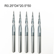 5PCS/LOT R0.25/0.5/0.75/1.0*D4*20.5*50L*2F HRC55 Tungsten solid carbide Tapered Ball Nose End Mills and cone cutter