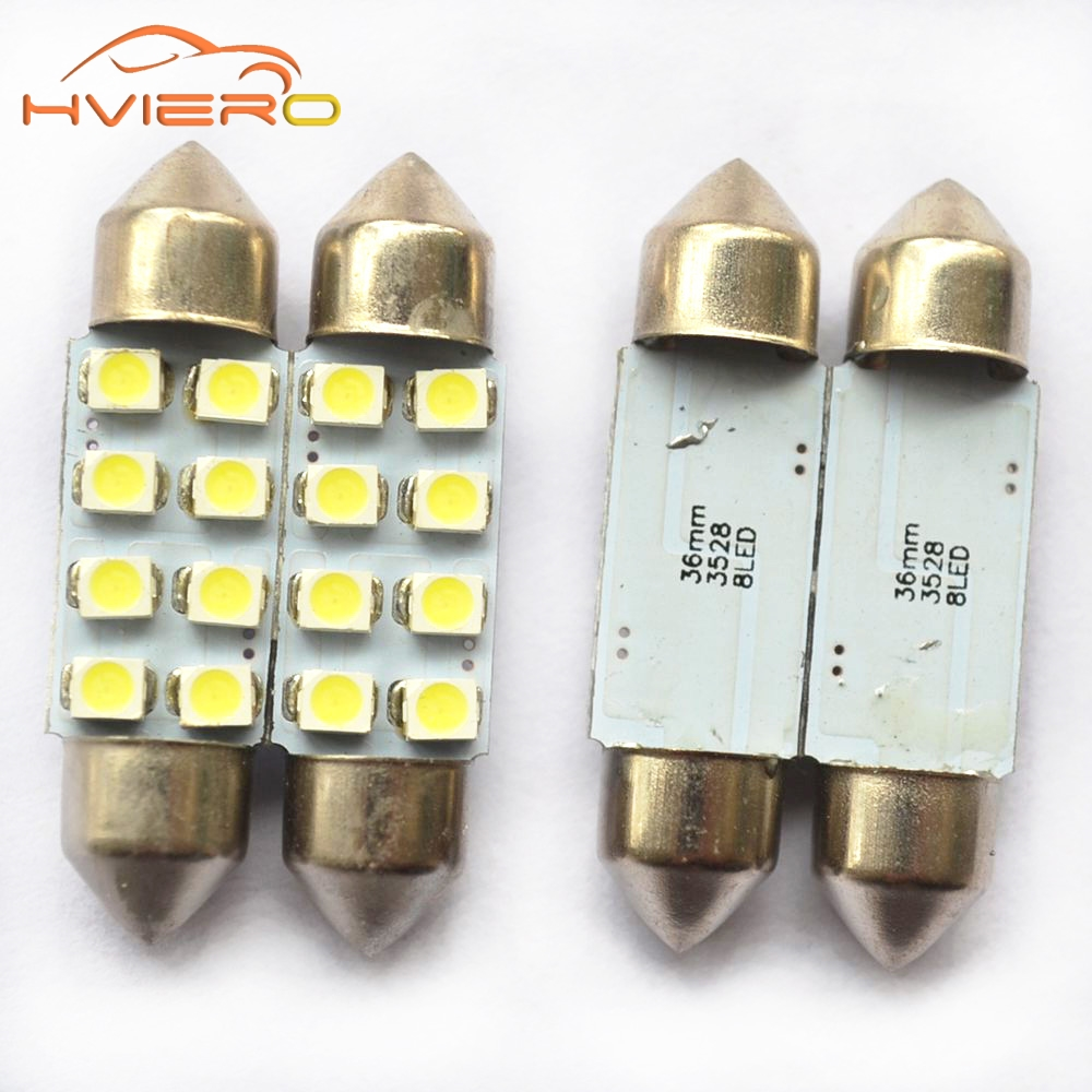 1Pcs 31mm 36mm 39mm 41mm White 3528 1210 Car Light 8SMD 8 LED C5W  Festoon Dome Lamp Bulb DC 12V Festoon Dome Car Light Bulb