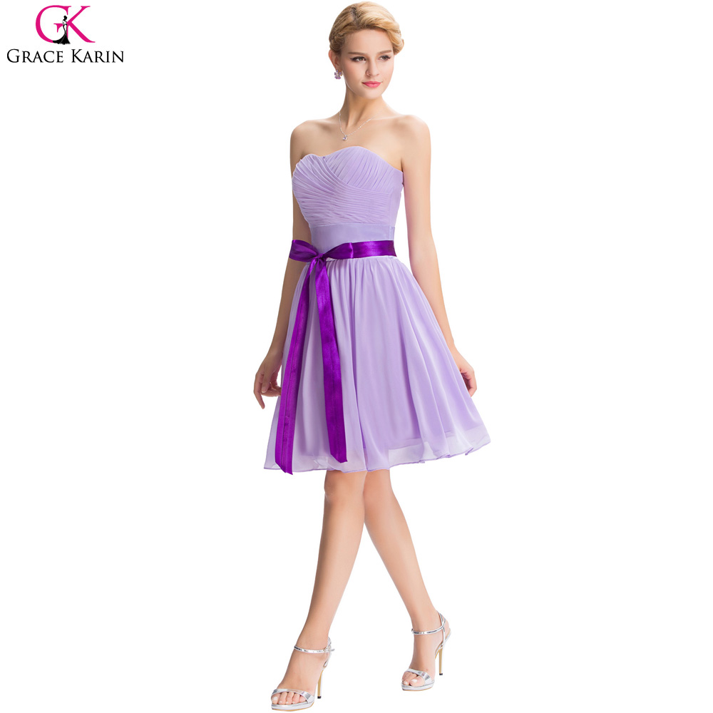 Grace Karin Cheap Purple Bridesmaid Dresses A Line Modest Strapless ...