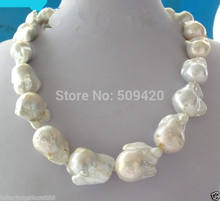 "~~ Free Shipping >>REAL HUGE AAA SOUTH SEA WHITE BAROQUE PEARL NECKLACE 18""(China)"