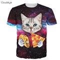Cloudstyle 21 Patrones S-3XL 3D Gato de Manga Corta Camiseta de Los Hombres comer Pizza en Espacio Impreso Camiseta Homme O Cuello Marca ropa