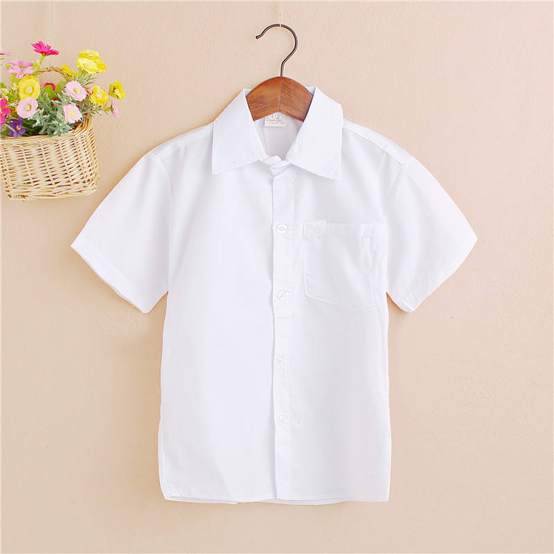 2018 spring and autumn new boy white shirt children's cotton short-sleeved student performance clothing