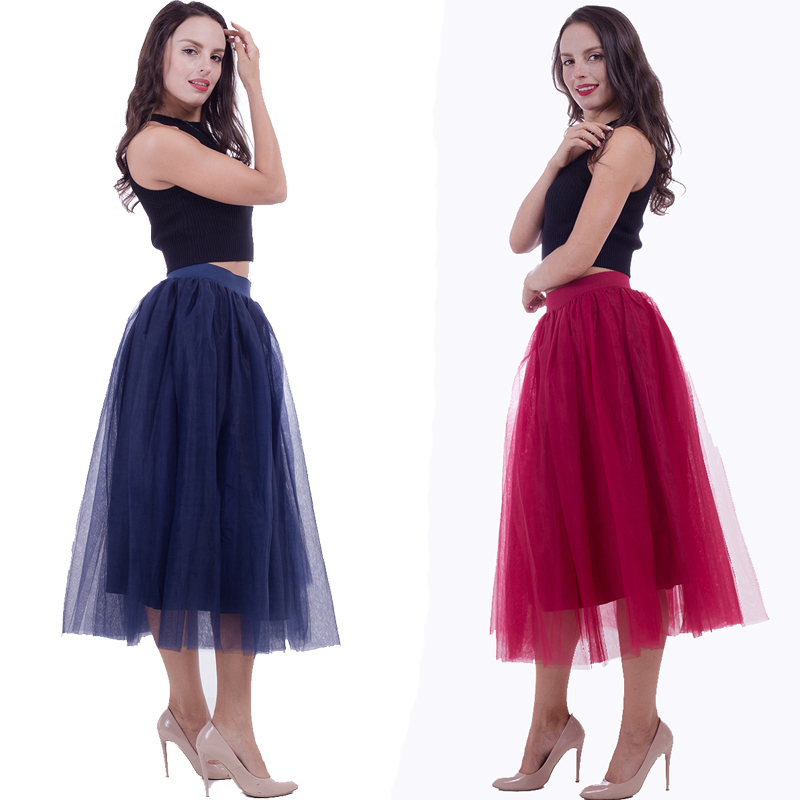 2019 Tulle Skirt Pleated Tutu Skirts Womens Elastic Faldas High Waist Midi Mid-Caft Saia Jupe