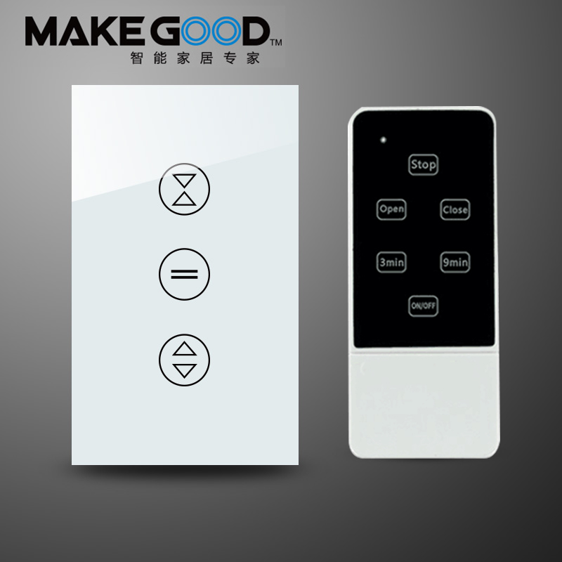 Makegood US Type Luxury Galss Panel Electric Touch Curtain Wall Switch with Backlight indicator+Remote Control remote control wall switch white electric curtain switch and touch switch