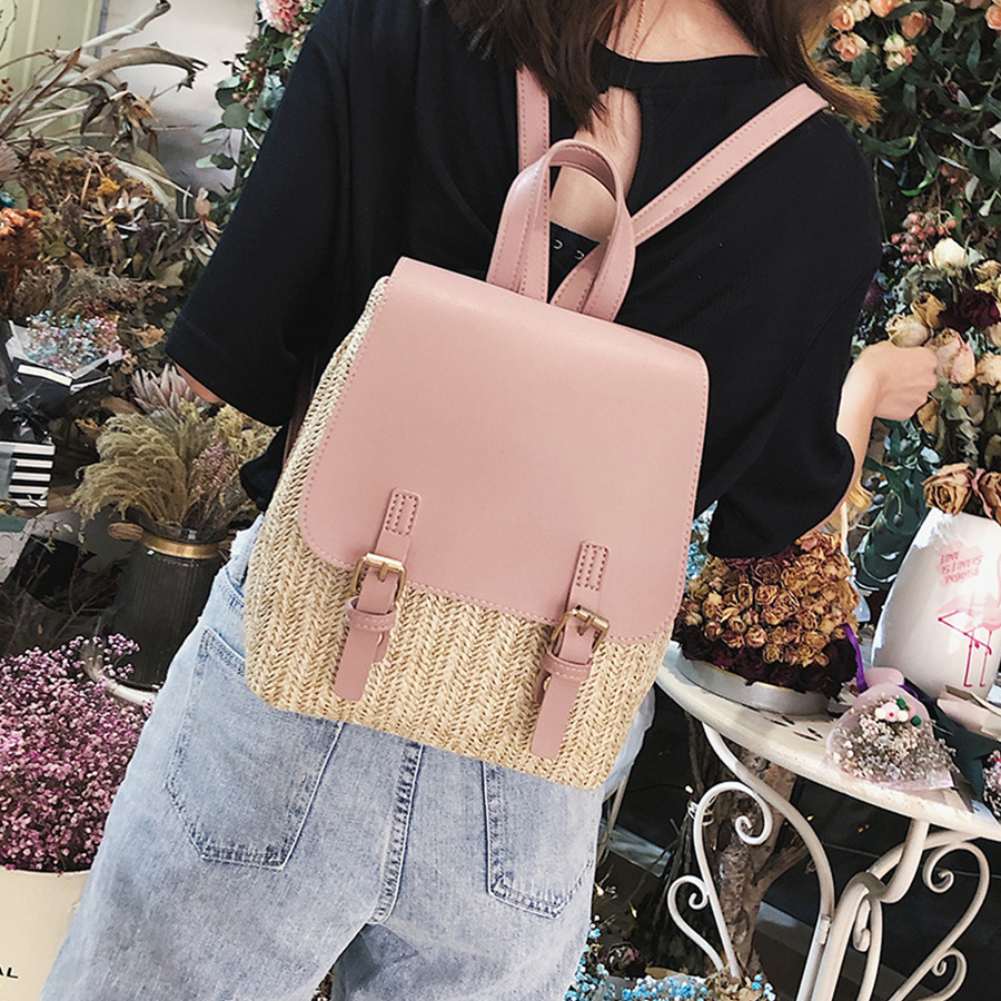 Black Pink Straw Woven Women Backpack Mini Small PU Leather Schoolbags For Teenage Girls High Quality Back Pack Women 2018 New