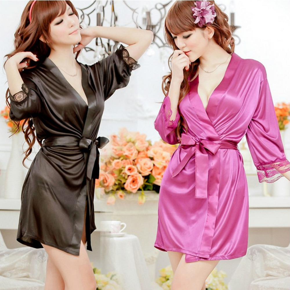 Hot Sexy Lingerie Satin Lace Kimono Intimate Sleepwear Robe Sexy Night Gown Women Sexy Underwear 5 Colors(China)