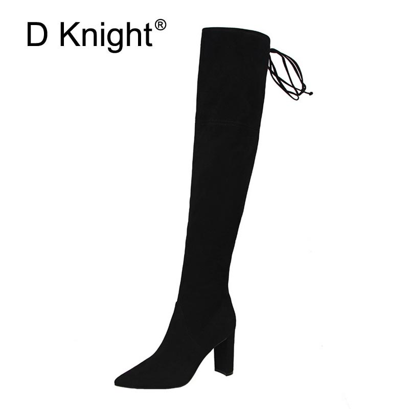 Sexy Ladies Casual Pointed Toe High Heels Over The Knee Boots Fashion Stretch Fabric Ridding Boots For Women Female Winter Boots цены онлайн
