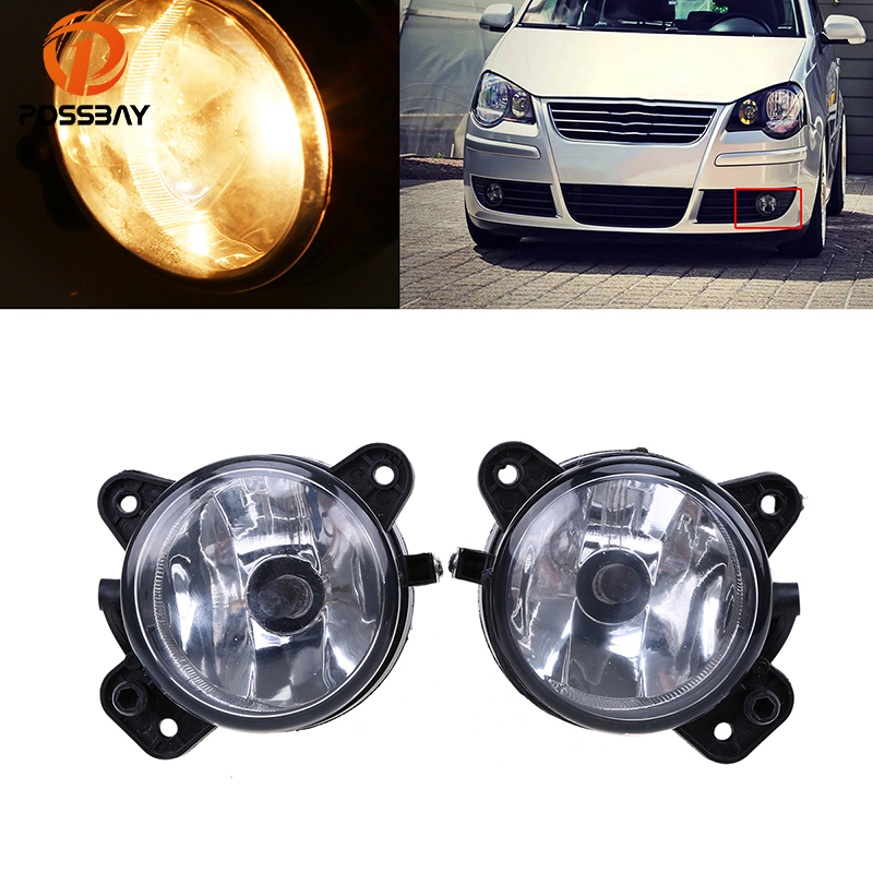 POSSBAY Car Lights for VW Polo 9N 2005 2006 2007 2008 2009 Car Styling Front Bumper Fog Light Fog Lamp 9006 Halogen Bulbs right side for vw polo vento derby 2014 2015 2016 2017 front halogen fog light fog lamp assembly two holes