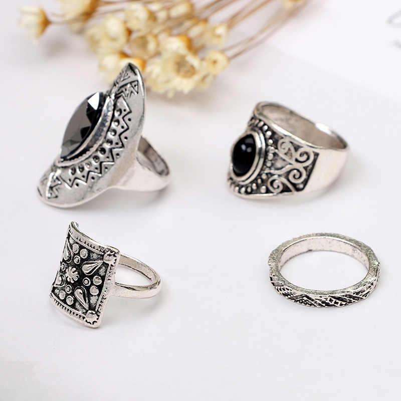 วินเทจตุรกีเรซินลายดอกไม้Midiแหวนสำหรับผู้หญิงพังก์แฟชั่นBohoผู้ชายแหวนชุดAnillosของขวัญ