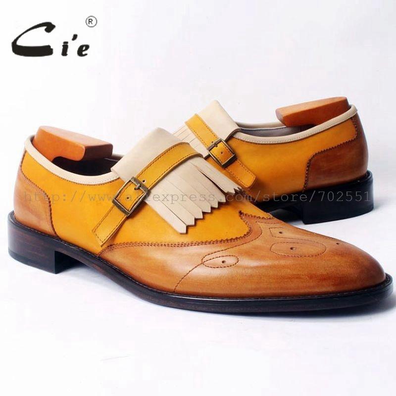 cie Free Shipping Custom Glue Craft Handmade Tassel Straps Calfskin Upper /Inner/Outsole Men's shoe Color Brown Loafer 49