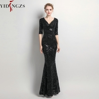 YIDINGZS Women Half Sleeve Beaded Sequins Prom Dress Mermaid V Neck Party Evening Dress
