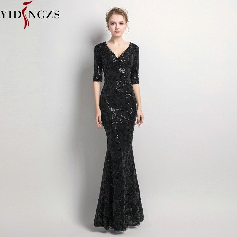 YIDINGZS Women Half Sleeve Beaded Sequins   Prom     Dress   Mermaid V Neck Party Evening   Dress   YD062