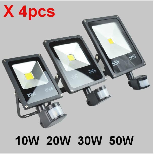 (4pcs/lot)85-265V 10W 20W 30W 50W 70W 100W PIR LED Floodlight with Motion detective Sensor Outdoor LED Flood light Lamp led spot
