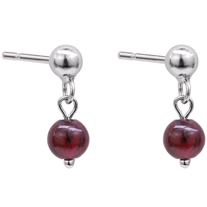 Flyleaf 100 925 Sterling Silver Red Pomegranate Stone Drop Earrings For Women Simple Fashion Party Jewelry in Drop Earrings from Jewelry Accessories